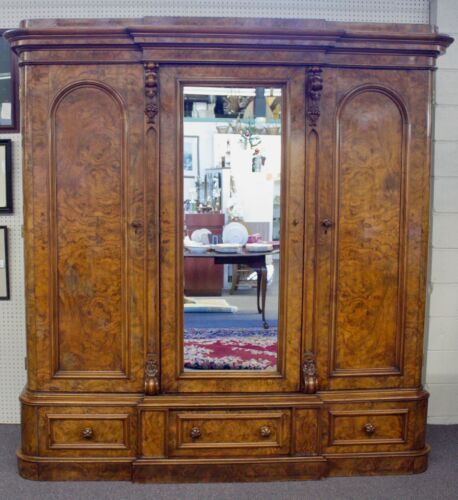 "MASSIVE Antique 3-Door ""Break Down"" Burl Walnut FRENCH ARMOIRE 88""H x 86""W. 1890"
