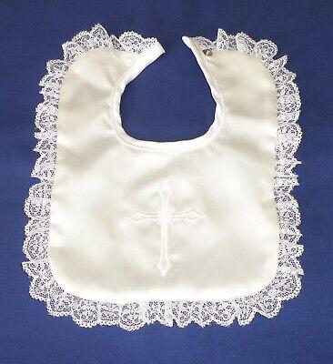 Christening Baptism Baby Girl Bib White Satin Lace Trim Cross Embroidery Girls Christening Bib