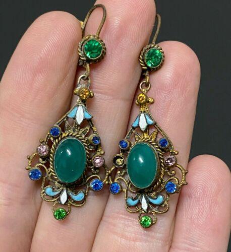 Victorian Enamel Rhinestone Filigree Dangle Drop Lever Back Gilt Earrings