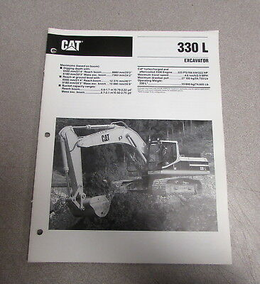 Cat Caterpillar 330l Excavator Specification Brochure Manual Aehq3598-02 1994