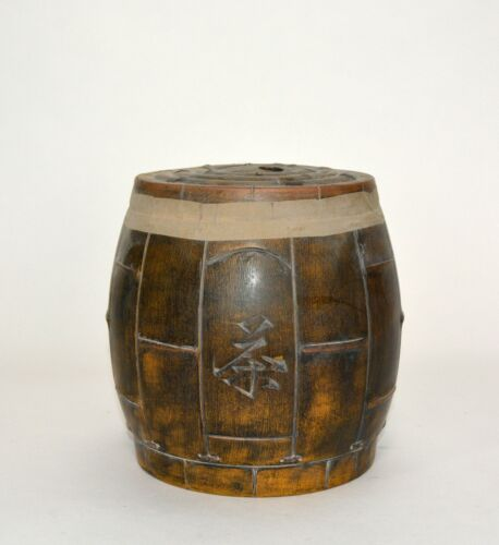 Rare Chinese Yizhaofeng Label Bamboo Busket Form Yixing Zisha Ceramic Tea Caddy