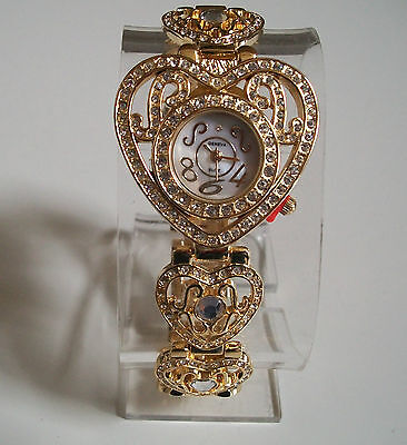 WOMEN'S FASHION DRESSY GOLD FINISH  RHINESTONE HEART SHAPE STYLE WRIST WATCH