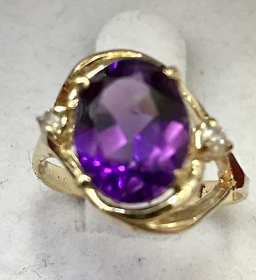 Estate 14k Solid Yellow Gold Natural Diamond Oval Amethyst ring  1.29 ct