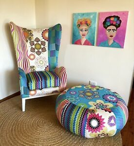 Nel Lusso Kaleidoscope Wingback Chair and Ottoman