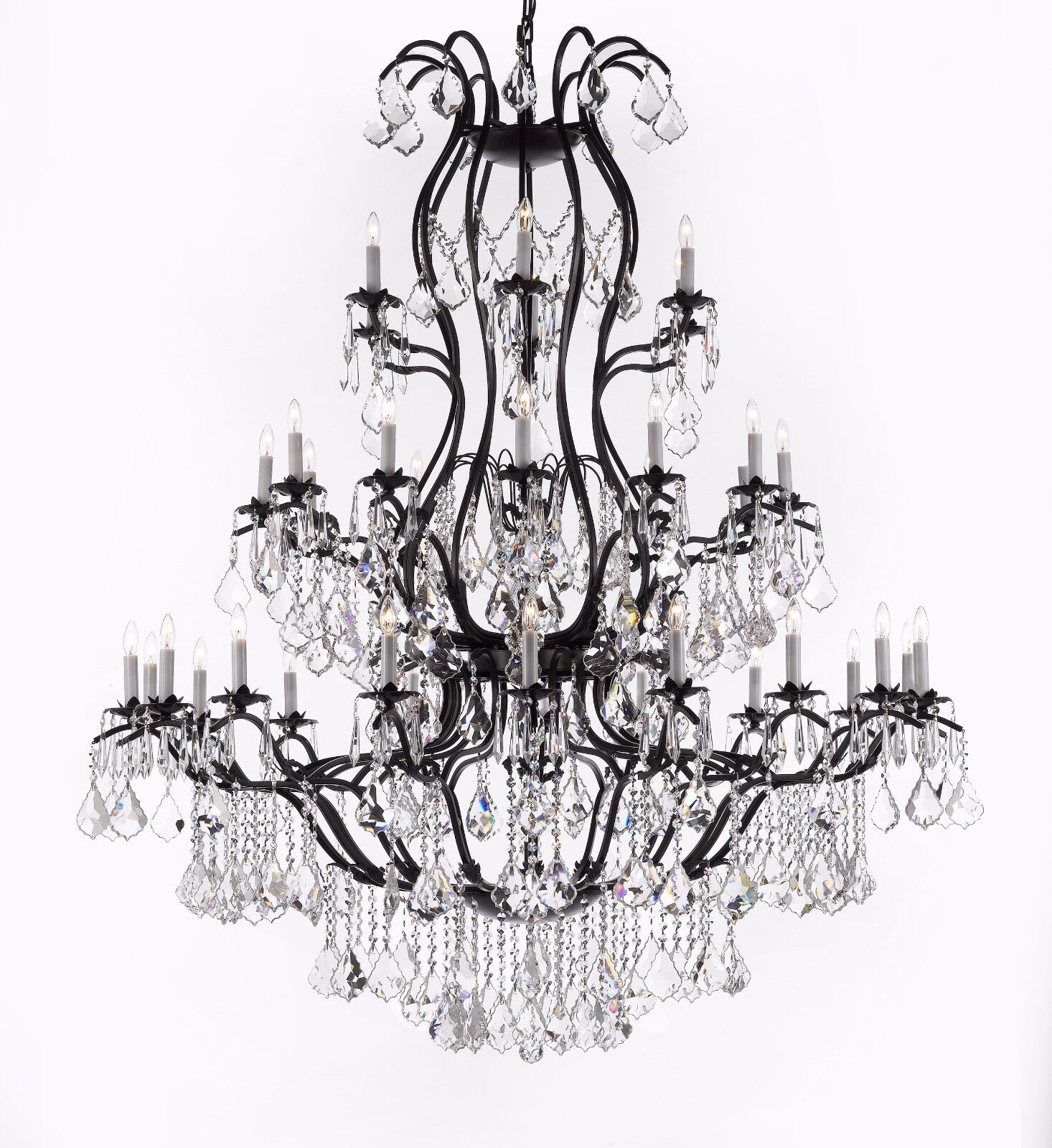 The timeless elegance of this chandelier is sure to lend a special atmosphere anywhere its placed. Assembly Required Lightbulbs not included  sc 1 st  eBay & Large Foyer/Entryway Wrought Iron Chandelier Lighting W/Crystal H60 ...