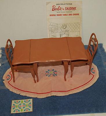 Vintage Barbie & Skipper Doll Go Together Drop Leaf Dining Rm Furniture Set,RARE