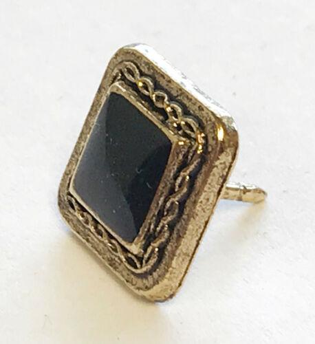 Black & Gold Tie Tack Pin with Clutch Back Ascot Cravat Formal Wedding Mason