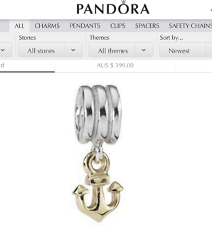Pandora Anchor 14ct Gold and Silver Charm (RETIRED) *Price drop*