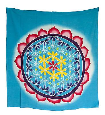 Batik Chakra Sri Yantra Mandala Flower Hanging Cotton Handmade 104x102cm 1555 U