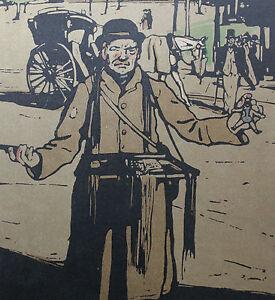 """William Nicholson 1898 Types de Londres London Le Camelot Hawker - Alise Ste Reine, France métropolitaine - LITHOGRAPHIE ORIGINALE EN COULEURS DAPRS LES BOIS GRAVÉS PAR WILLIAM NICHOLSON 1898 (Paris, Floury) EXTRAITE DE L'OUVRAGE """"LES TYPES DE LONDRES"""" 1898 (imprimé 600 exemplaires sur vélin fort et 40 sur Japon) 1 F - Alise Ste Reine, France métropolitaine"""