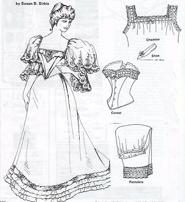 "16""ANTIQUE FRENCH FASHION LADY DOLL@1890-1910 DRESS/TRAIN UNDERWEAR SHOE PATTERN"