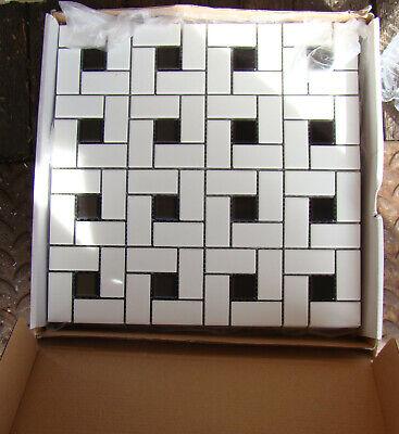 Soho White Matte with Black Dot Pinwheel Porcelain Mosaic, Floor And Wall Tile