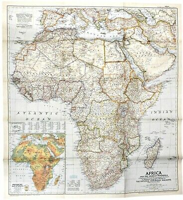 Map Of Africa 1950.1950 3 Vintage Original Map Africa Arabian Peninsula National Geographic