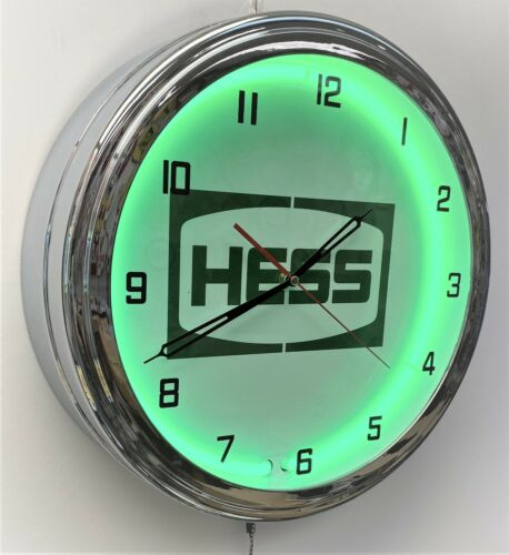 "16"" Hess Oil Nostalgic Sign Green Neon Wall Clock Garage Man Cave"