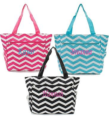 - Personalized Canvas Tote Bag Pocket Chevron Beach Bag Diaper Bag - Free Monogram
