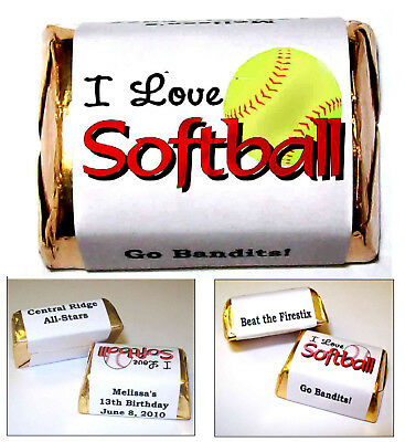 60 GIRLS SOFTBALL CANDY WRAPPERS LABELS PARTY FAVORS - Softball Party Favors