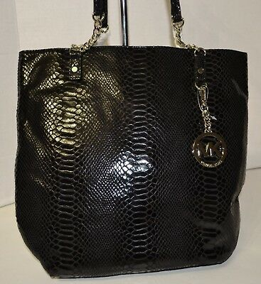 Michael Kors Jet Set Chain Tote Leather Black Bag Handbag Bolsa Purse MRSP$248 comprar usado  Enviando para Brazil