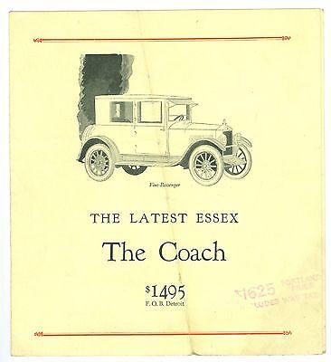 Scarce 1918-1922 Essex, The Coach Automobile $1495 Brochure