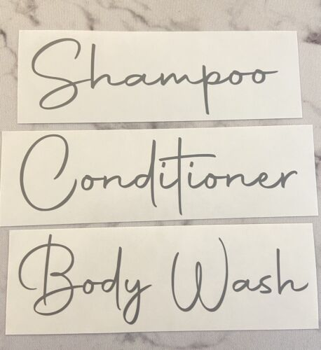 Set Of 3 Grey Shampoo, Conditioner And Body Wash Decal Stickers Vinyl