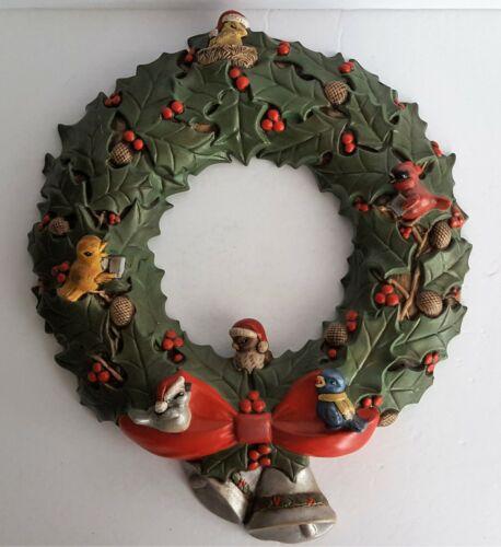 Vintage Ceramic Christmas Holly Berry Wreath Scioto Molds Birds Acorns Bells