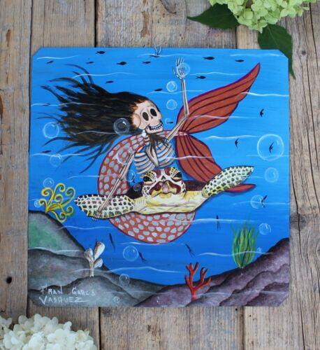 Day of the Dead Tin Retablo Skeleton Mermaid & Sea Turtle Oaxaca Mexico Folk Art