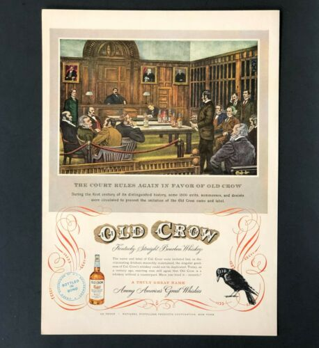 1949 Old Crow Whiskey Advertisement Law Court Room Artwork Vintage Print AD