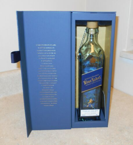 """johnnie walker blue label """"year of the dog"""" empty bottle and box Japanese zodiac"""