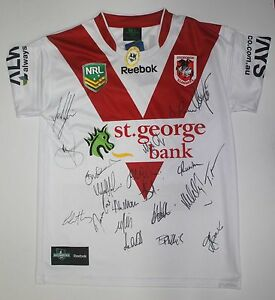 ST GEORGE ILLAWARRA DRAGONS NEW 2013 SQUAD SIGNED JERSEY SIGNED BY 20 BNWT