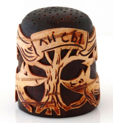 "Foxes Birch Bark Wooden Collectible Thimble Handmade Russian Souvenir 1 1/8"""