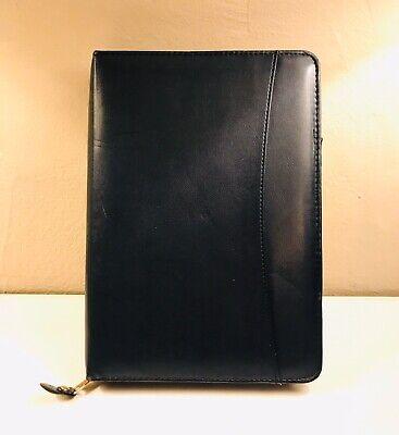 Vtg Mead Cambridge Zippered Day Planner Black A5 Size Binder Organizer 10x7 Blue