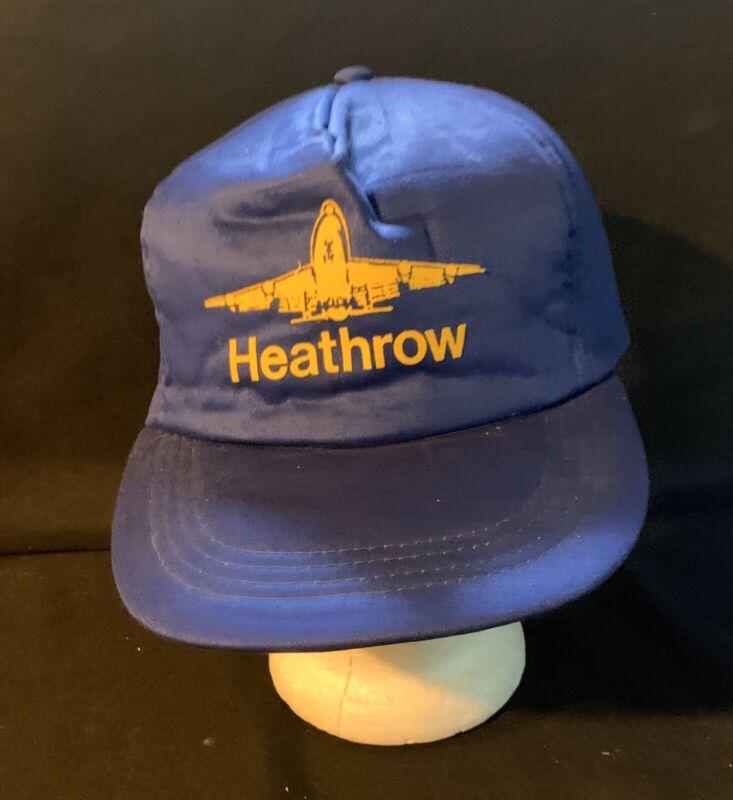 Vintage  Hat Heathrow Airport Airplane Blue Snapback Trucker Hat Blue Yellow