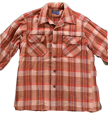 1940s Men's Shirts, Sweaters, Vests Vintage 1940's Pendleton Board Shirt Surf Orange Red Plaid Medium Loop Collar $96.00 AT vintagedancer.com