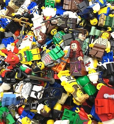 LEGO LOT OF 10 RANDOM MINIFIGURES W/ ITEMS GREAT VARIETY PEOPLE TOWN SPACE MORE