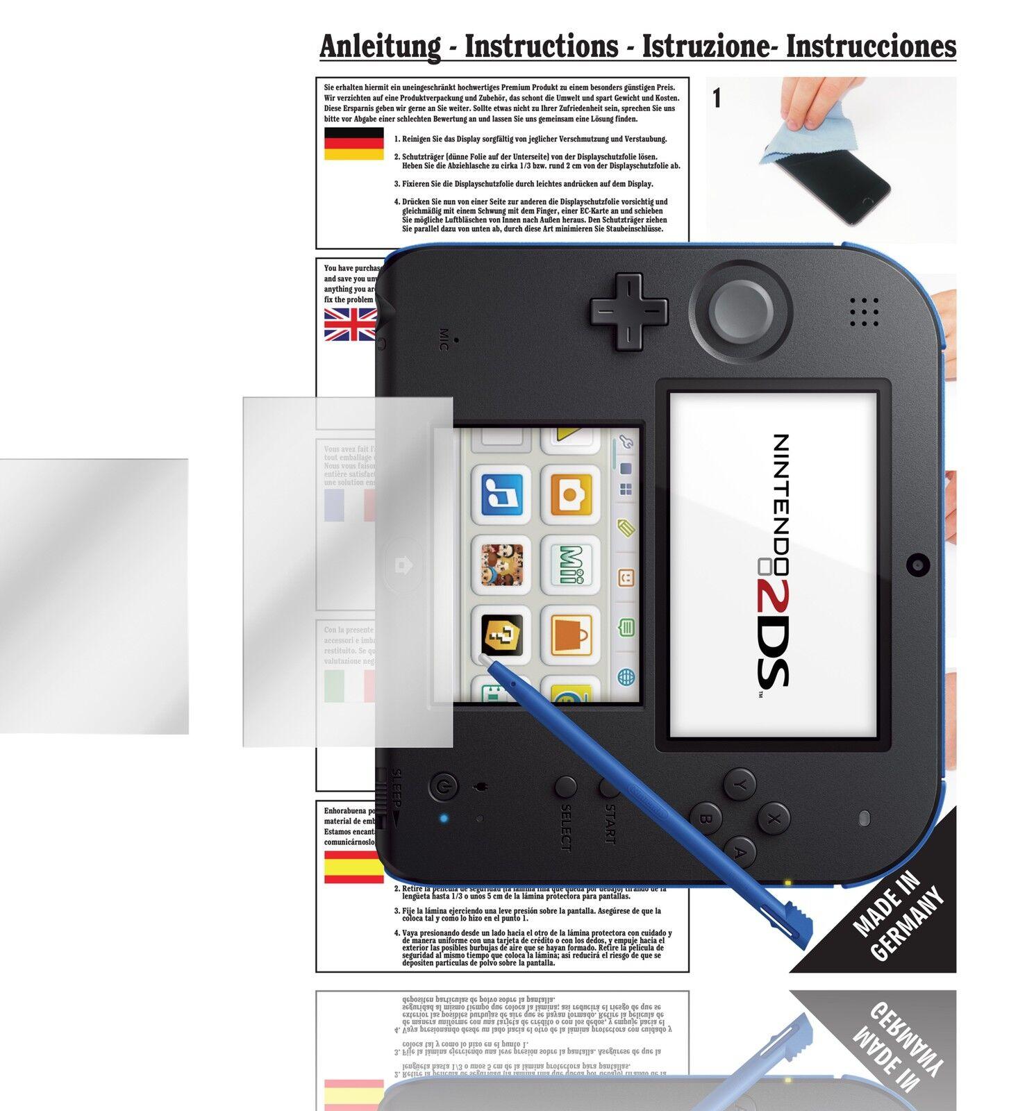 6x Displayschutzfolien für Nintendo 2DS Schutzfolie Klar Folie Displayfolie