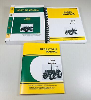 Service Parts Operators Manual Set For John Deere 2940 Tractor Shop 1190 Pgs Oh