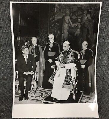 Vintage President John F Kennedy & Pope Paul VI In Rome Original Press Photo E15