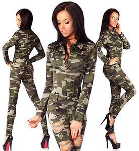 sexy-de-mujer-Militar-Vaquero-Mono-Mono-Ajustado-Fino-D-673
