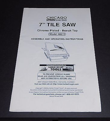 """Original Manual for Chicago Electric Power Tools 7"""" Tile Saw Model 40315"""