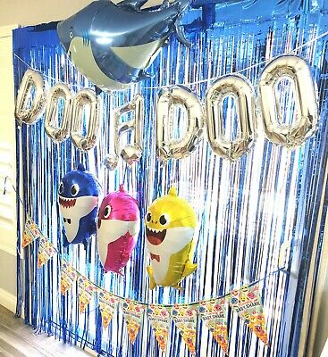 METALLIC FRINGE CURTAIN BOX BABY SHARK Party Supplies BALLOON BANNER DECORATION
