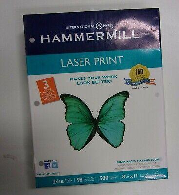 Hammermill Laser Print Paper 3-hole Punch 98 Brightness 24lbs 500 Sheets