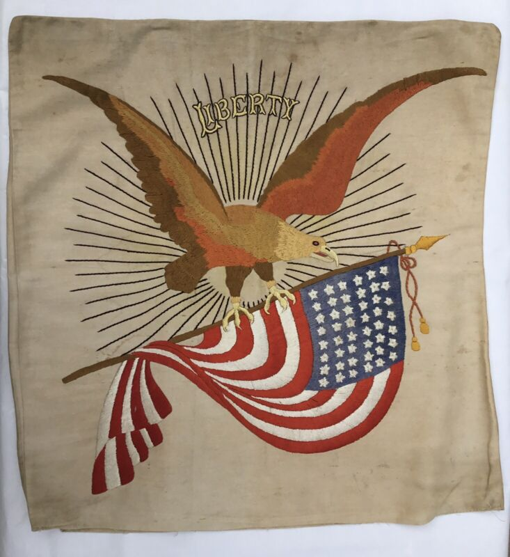 Vintage Embroidered Great Flag 47 Stars and Eagle 1930's/40's Ready to Frame