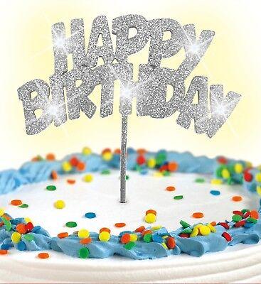 Cake Topper Silve Glitter HAPPY BIRTHDAY LED Flashing Decoration FREE SHIPPING!! - Flashing Happy Birthday