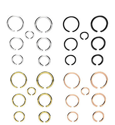 Fake Piercing Ring Nose Lip Ear Body SILVER, BLACK, GOLD Various Sizes & Gauges](Fake Body)