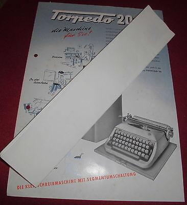 dachbodenfund prospekt blatt torpedo  20 klein schreibmaschine alt reklame 1954