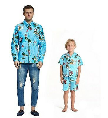 Hawaii Hangover Father Son Outfit Hawaiian Dance Luau Party Christmas Santa Turq](Father Xmas Outfits)