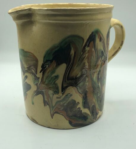 Jaspe / antique French glazed pottery - 7 inch pitcher