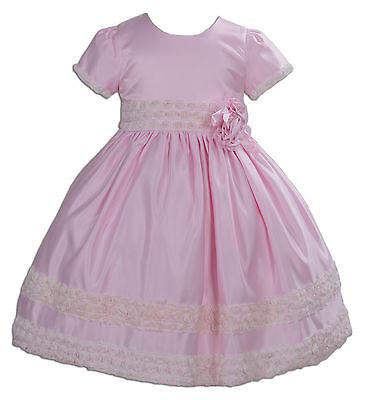 Satin Blumenmädchen Brautjungfer Schönheitswettbewerb Kleid Pink Elfenbein 2 3 4 ()
