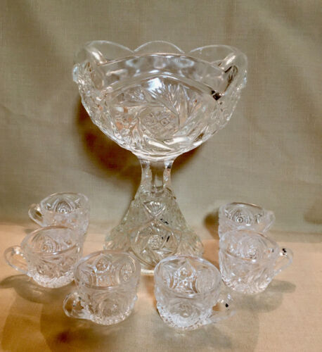 vintage child's minature glass punch bowl & 6 cups, preowned