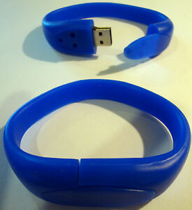 8GB WRIST BAND Bracelet USB 2.0 Memory Stick - BLUE - FREE 1st CLASS DELIVERY