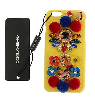 NEW DOLCE & GABBANA Phone Case Cover Yellow Leather Crystal Pom Pom iPhone6
